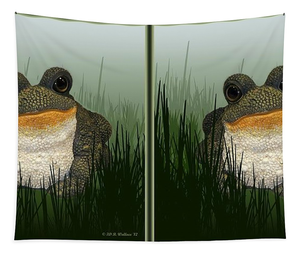 3d Tapestry featuring the photograph King Frog - Gently Cross Your Eyes And Focus On The Middle Image by Brian Wallace