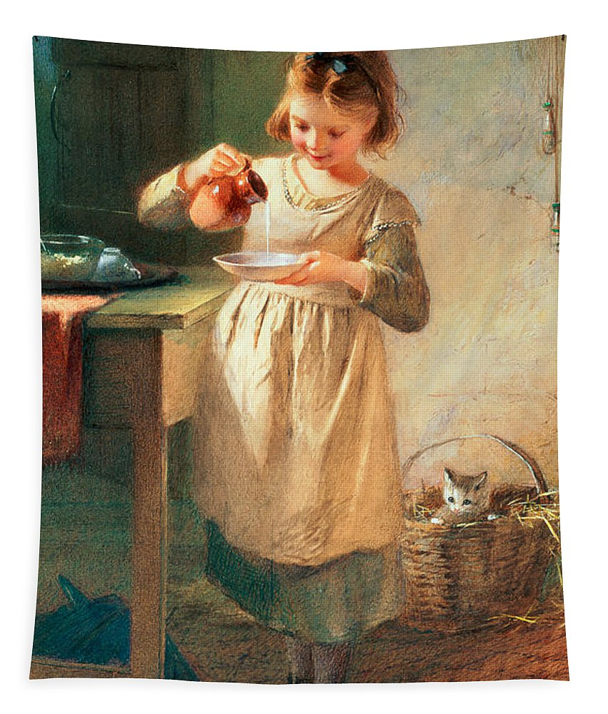 Kitten; Milk; Bowl; Jug; Kitchen; Child; Eating Tapestry featuring the painting Kitty's Breakfast by Farmer Emily