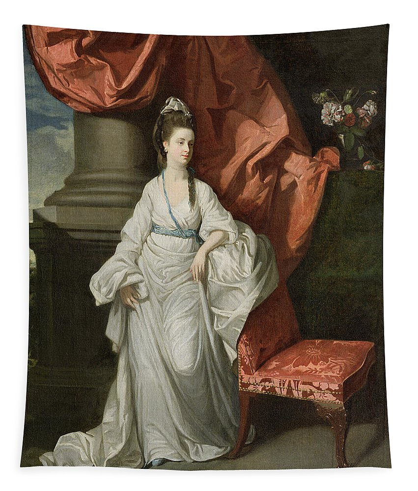 Lady Tapestry featuring the painting Lady Grant - Wife Of Sir James Grant by Johann Zoffany