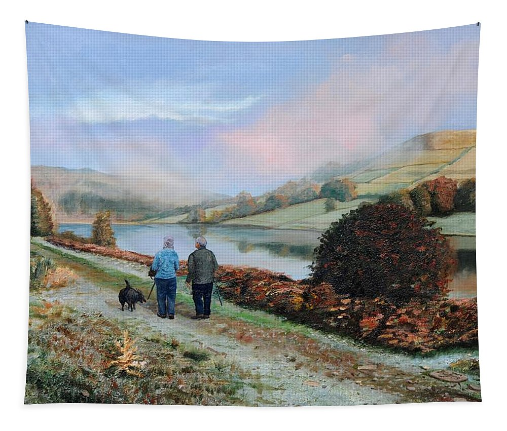 Peak District; Walkers; Walking; English Landscape; Countryside; Derbyshire; Landscape; Hills; Hill; Tree; Trees; Man; Woman; Male; Female; Dog; Stroll Tapestry featuring the painting Ladybower Reservoir - Derbyshire by Trevor Neal