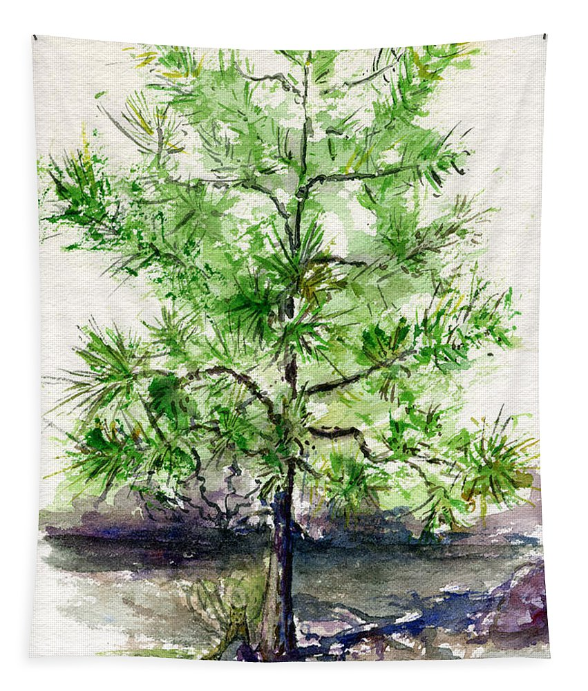 Tree Tapestry featuring the painting Lake Tahoe Tree by John D Benson