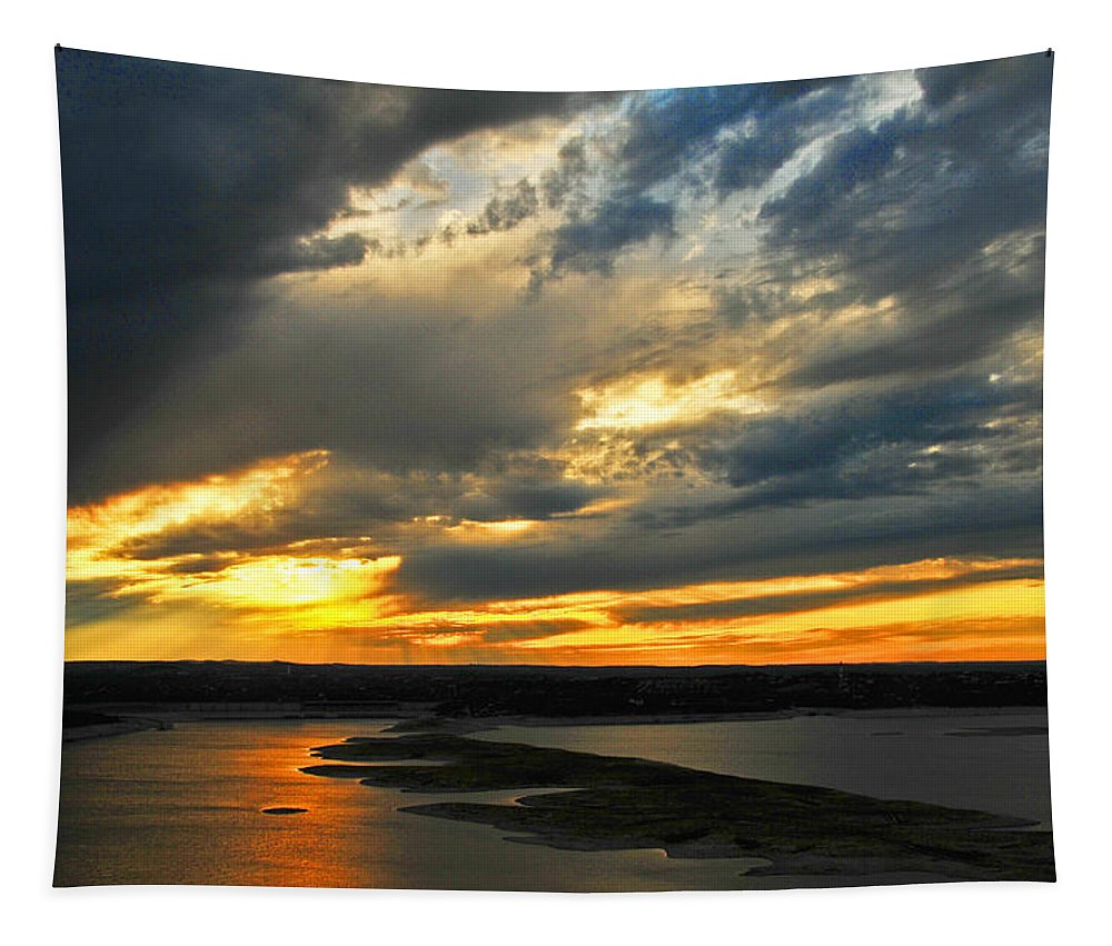Sunsets' Sunset Landscapes Tapestry featuring the photograph Lake Travis Reflections by Lynn Bauer