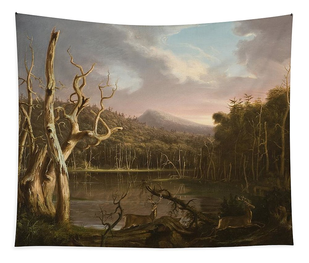 Hudson River School Tapestry featuring the painting Lake With Dead Trees by Thomas Cole