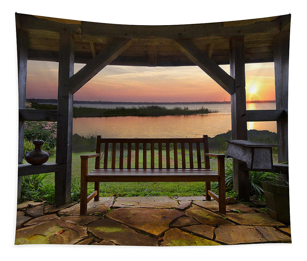 Clouds Tapestry featuring the photograph Lakeside Serenity by Debra and Dave Vanderlaan