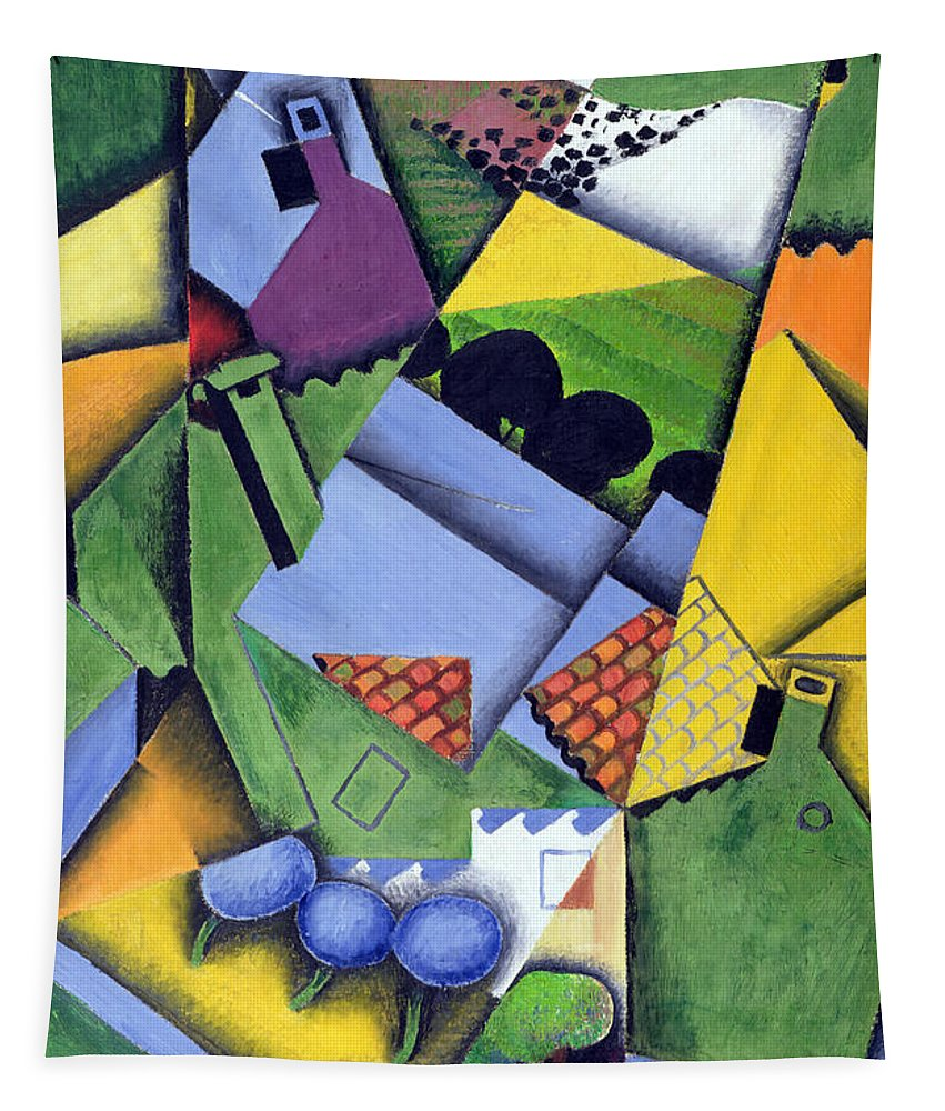 Cubist Tapestry featuring the painting Landscape And Houses At Ceret by Juan Gris