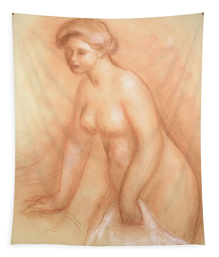 Large Tapestry featuring the drawing Large Bather by Pierre Auguste Renoir