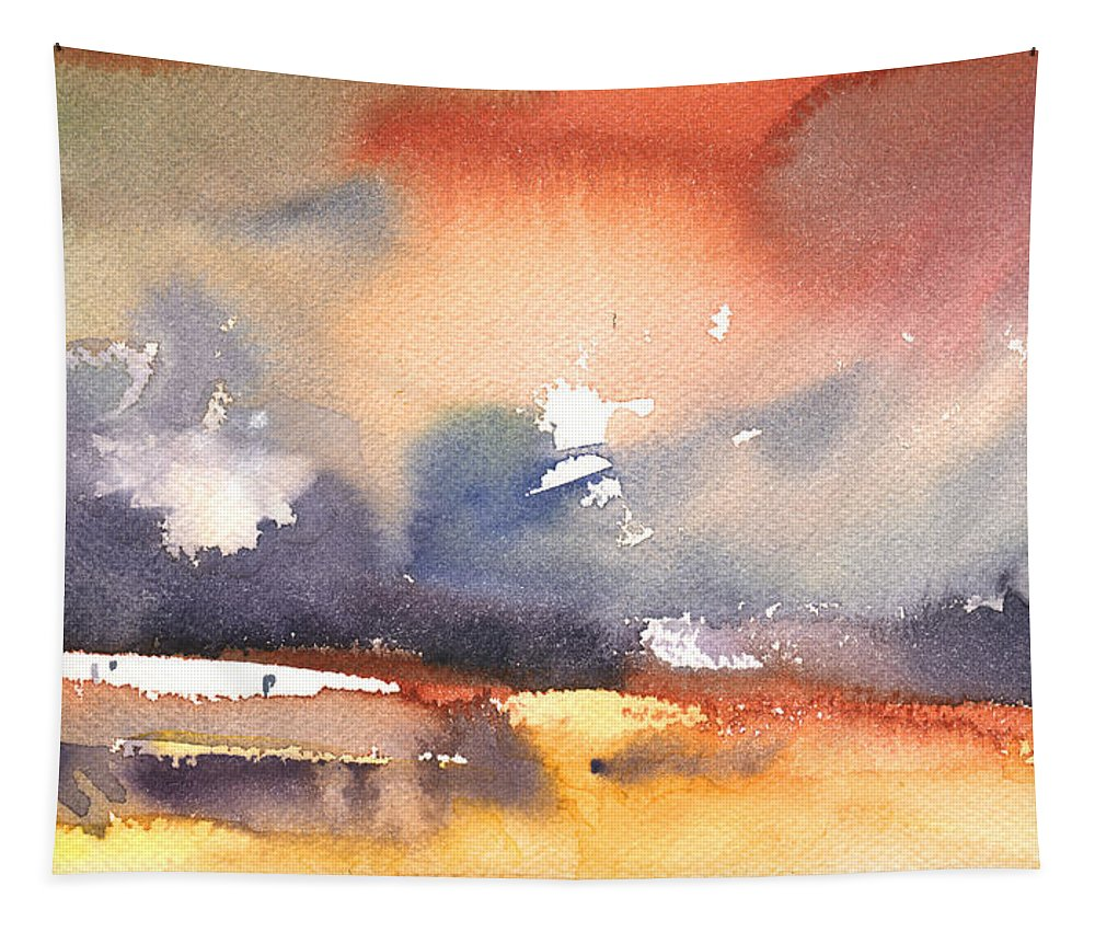 Landscapes Tapestry featuring the painting Late Afternoon 39 by Miki De Goodaboom