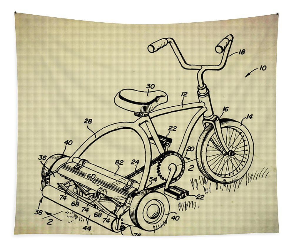 Lawnmower Tricycle Patent Tapestry featuring the digital art Lawnmower Tricycle Patent by Bill Cannon