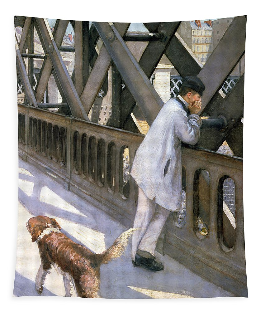 Impressionist; Bridge; Contemplation; Stray; Iron; Collie; Europe; Chien Tapestry featuring the painting Le Pont De L'europe by Gustave Caillebotte