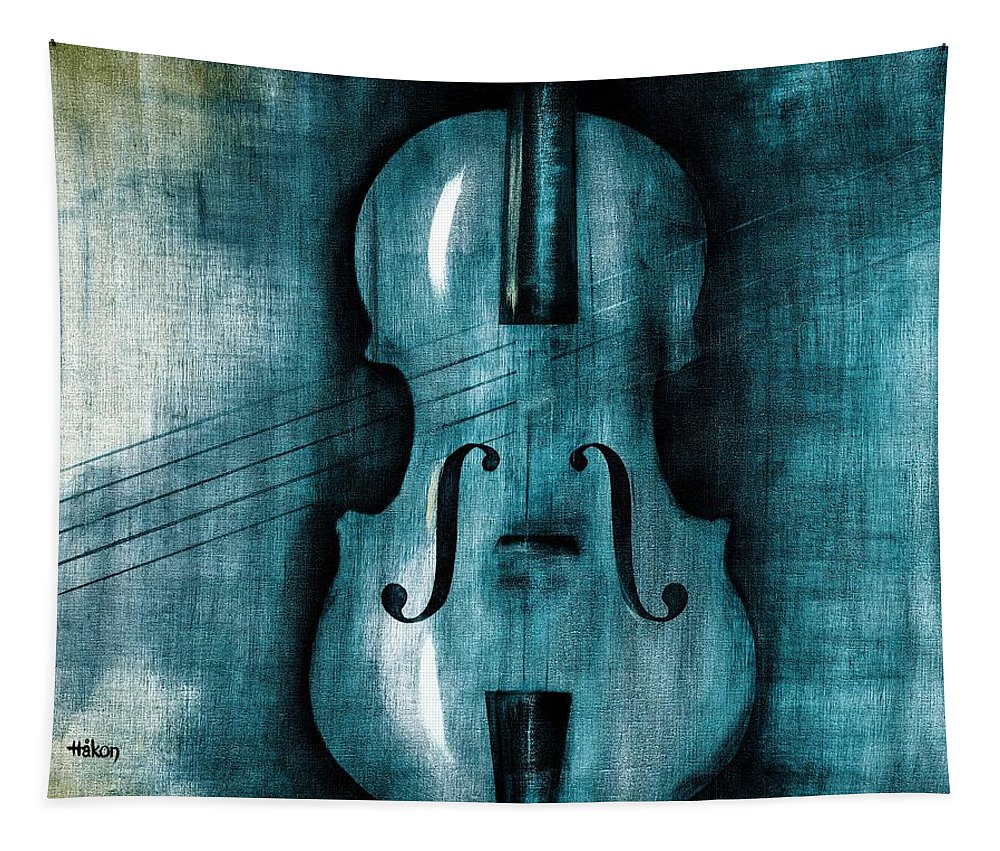 Oil Tapestry featuring the painting Le Violon Bleu by Hakon Soreide