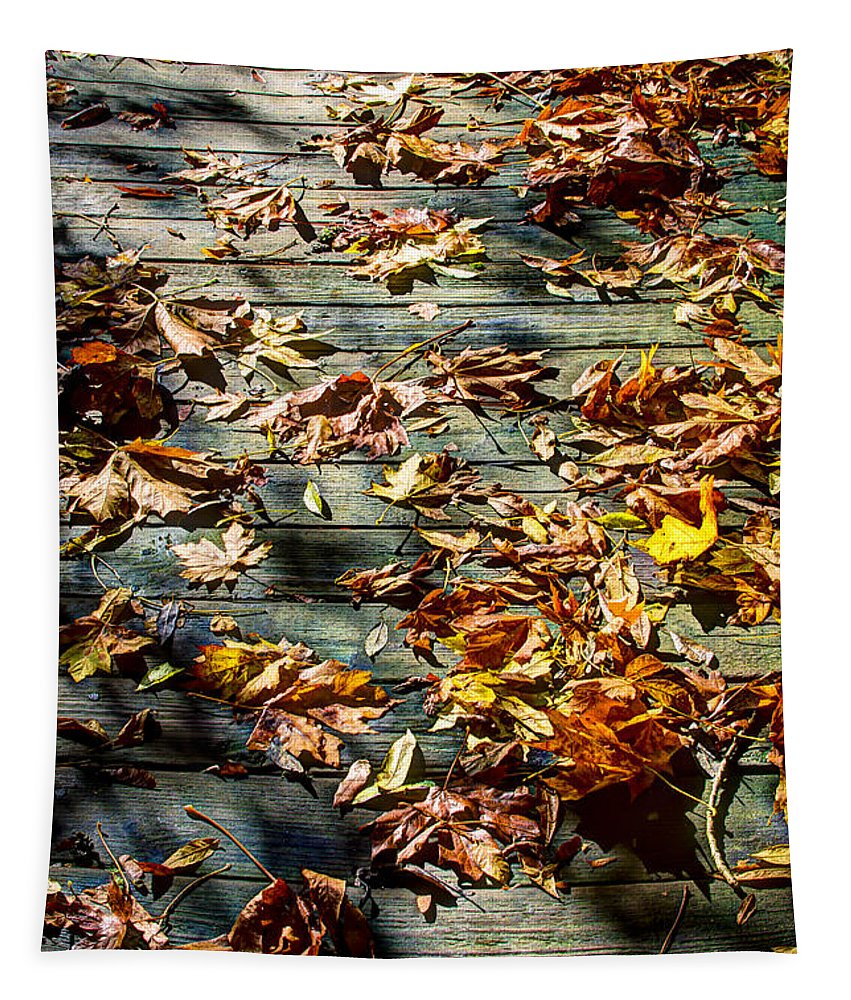 Nisqually Tapestry featuring the photograph Leaves On The Boardwalk by David Patterson