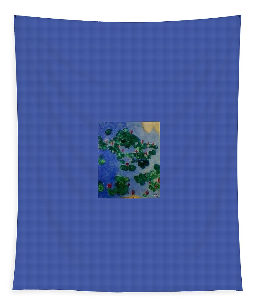 Lilies Floating In Blue Waters Tapestry featuring the painting Lily Pond by Sonali Gangane