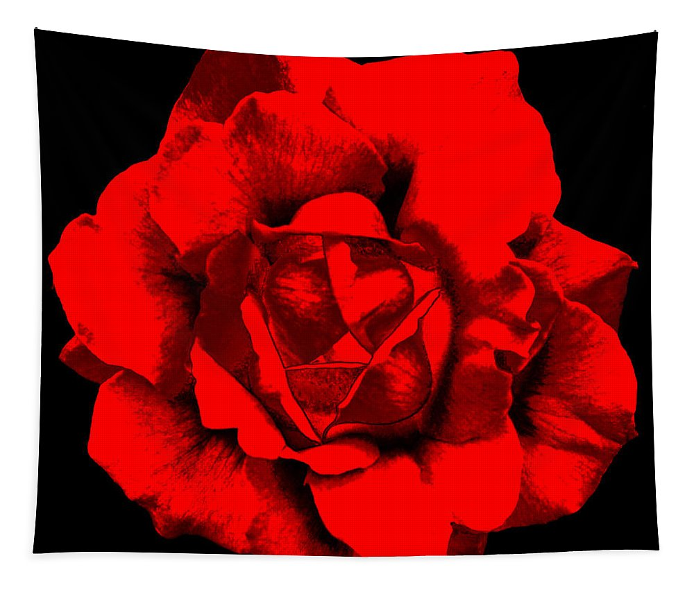Little Tapestry featuring the photograph Little Red Flower ... by Juergen Weiss