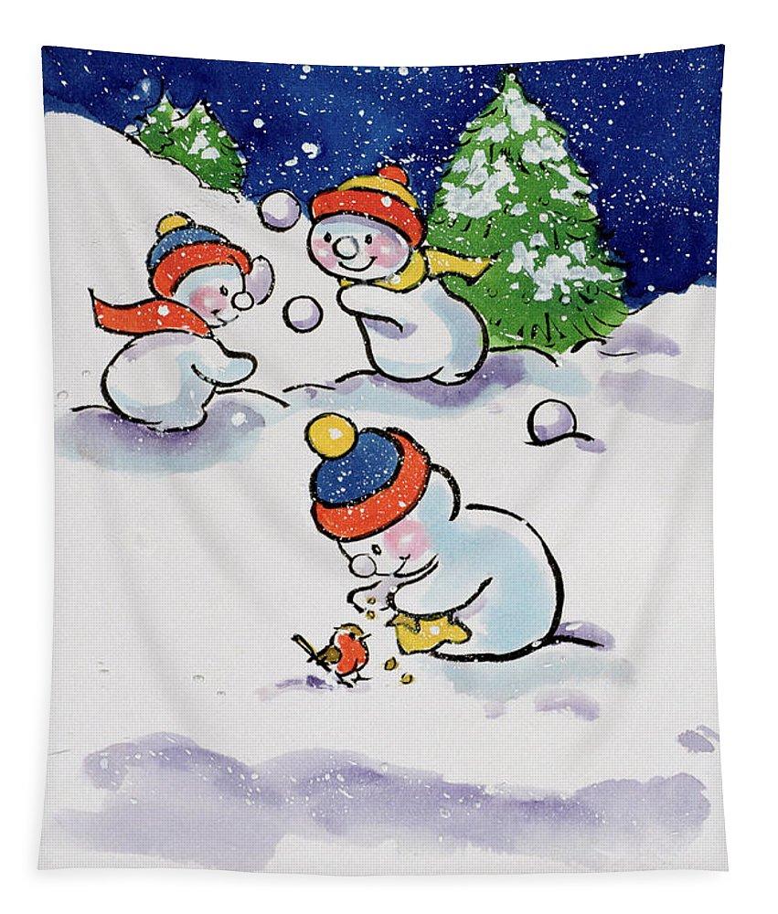 Little Snowmen Snowballing Tapestry featuring the painting Little Snowmen Snowballing by Diane Matthes