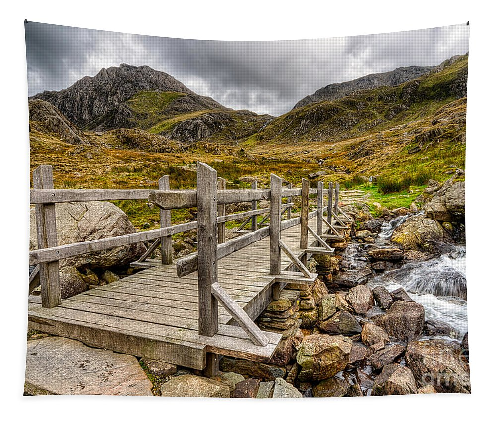 Bridge Tapestry featuring the photograph Llyn Idwal Bridge by Adrian Evans