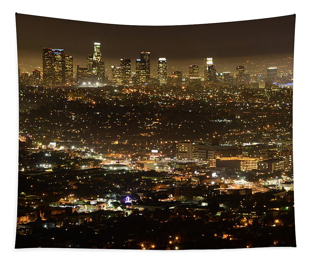 Los Angeles Tapestry featuring the photograph Los Angeles City View At Night by Bob Christopher