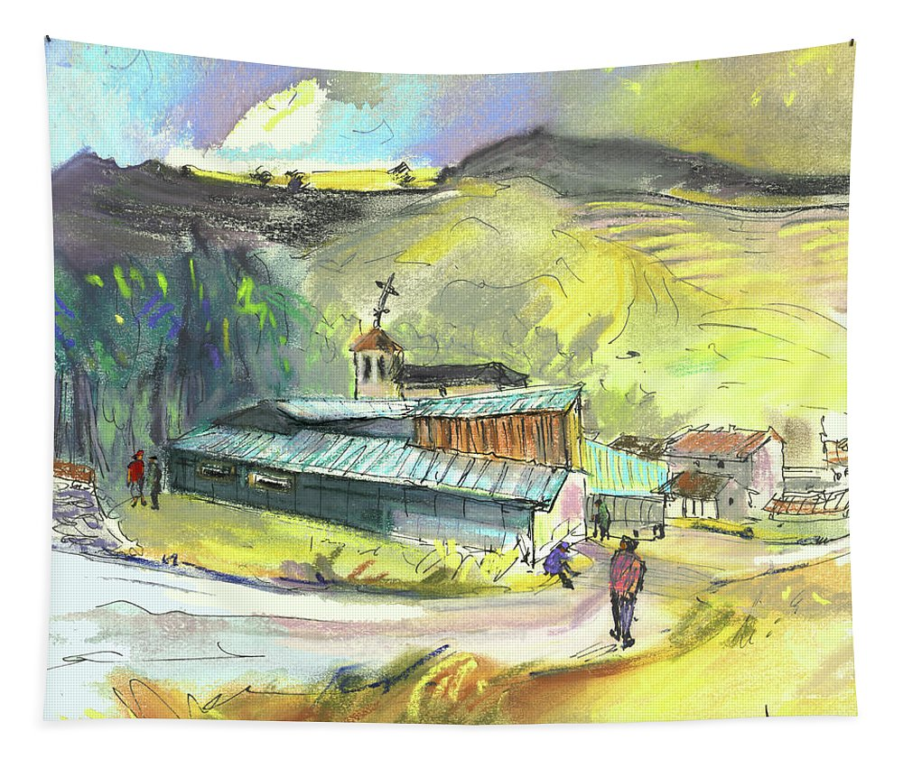 Spain Tapestry featuring the painting Los Olmos De Penafiel In Spain 01 by Miki De Goodaboom