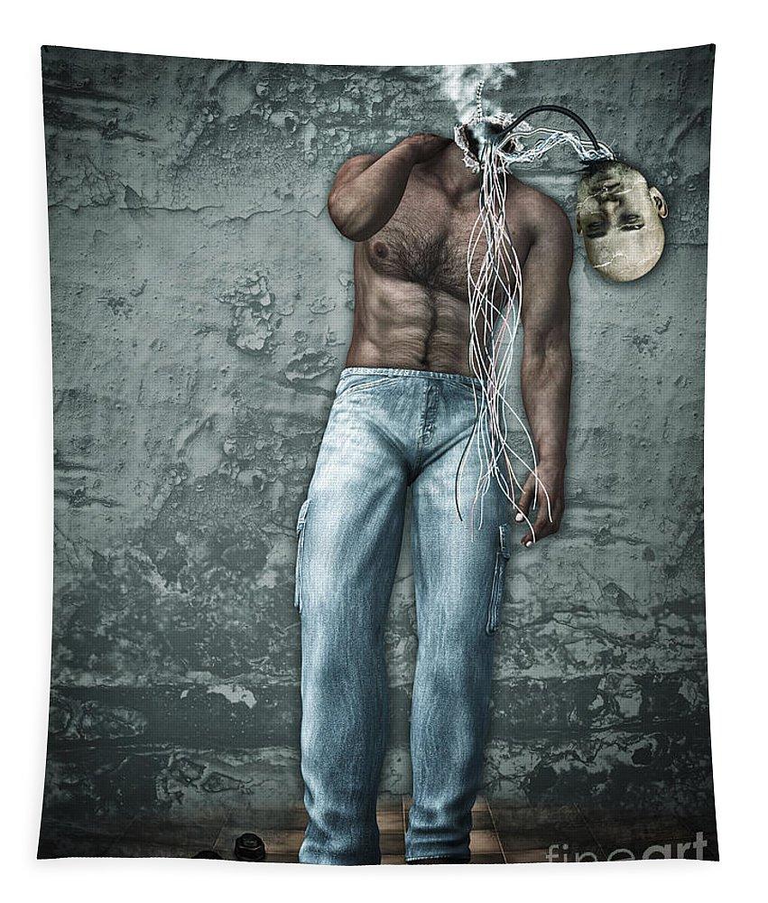 3d Tapestry featuring the digital art Lost His Mind by Jutta Maria Pusl