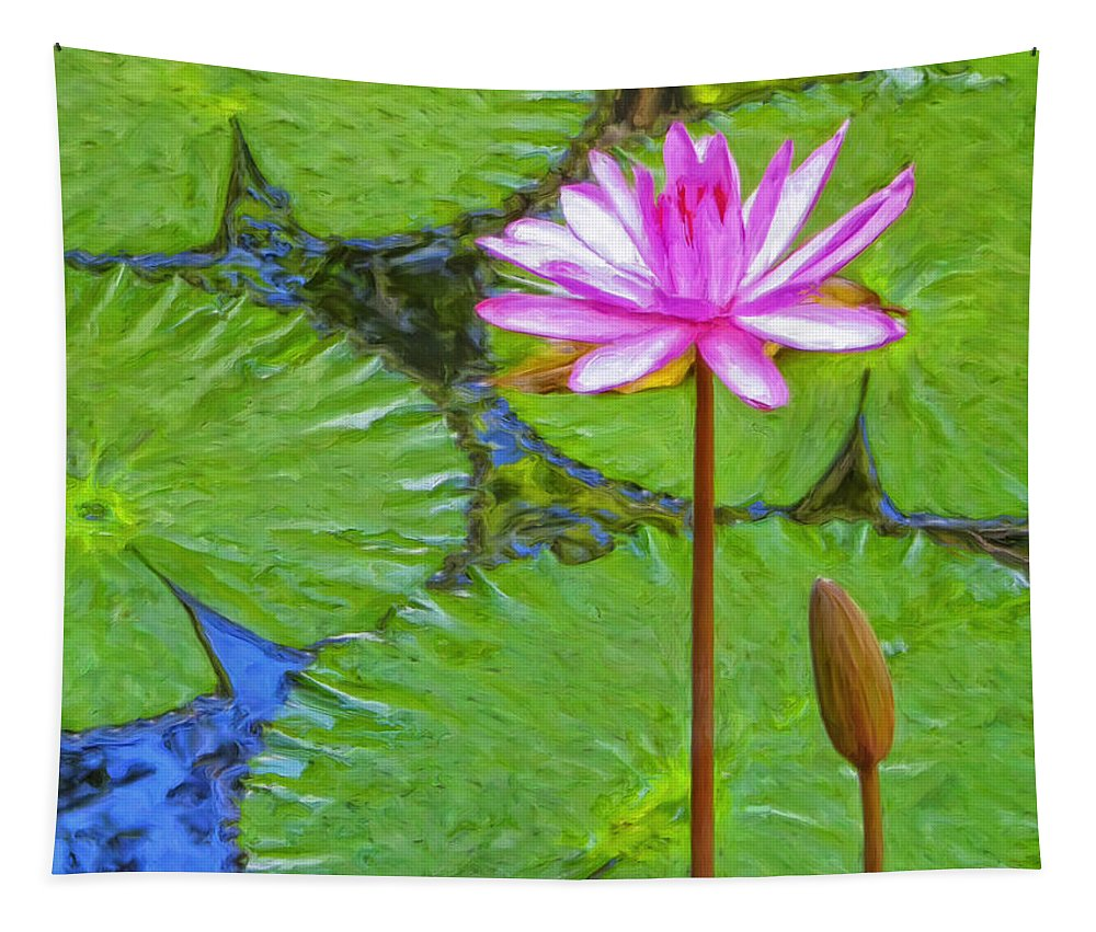 Lotus Tapestry featuring the painting Lotus Blossom And Water Lily Pads by Dominic Piperata
