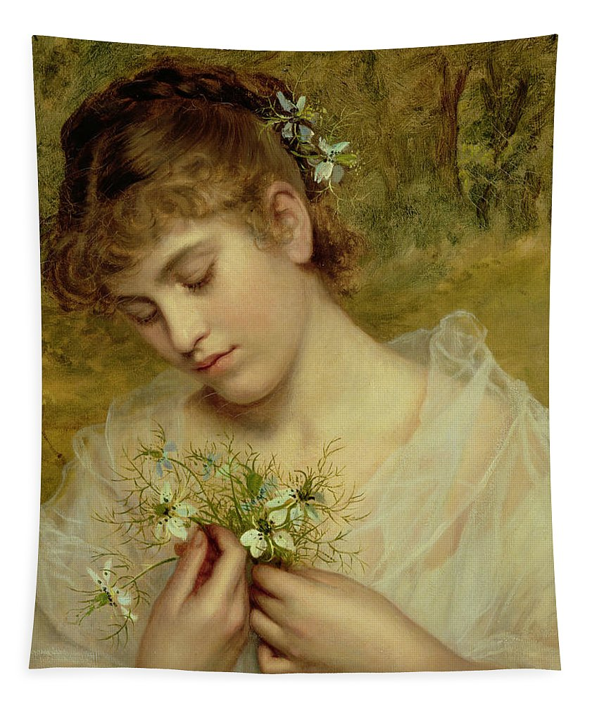 Love In A Mist Tapestry featuring the painting Love In A Mist by Sophie Anderson