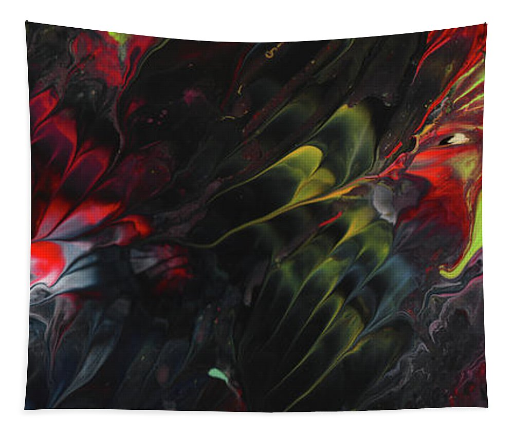 Abstract Tapestry featuring the painting Lovebirds In The Night 01 by Miki De Goodaboom