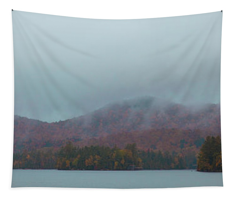Low Clouds Over Blue Mountain Lake Tapestry featuring the photograph Low Clouds Over Blue Mountain Lake by David Patterson
