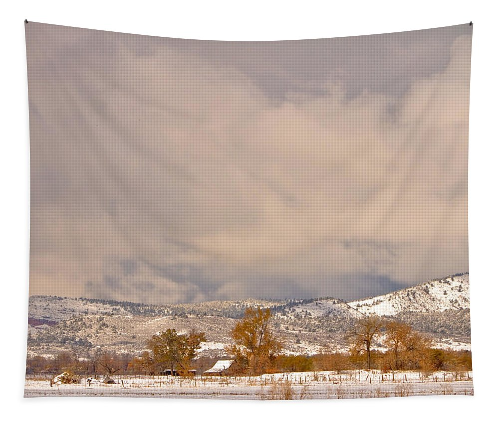 'low Clouds' Tapestry featuring the Low Winter Storm Clouds Colorado Rocky Mountain Foothills 5 by James BO Insogna
