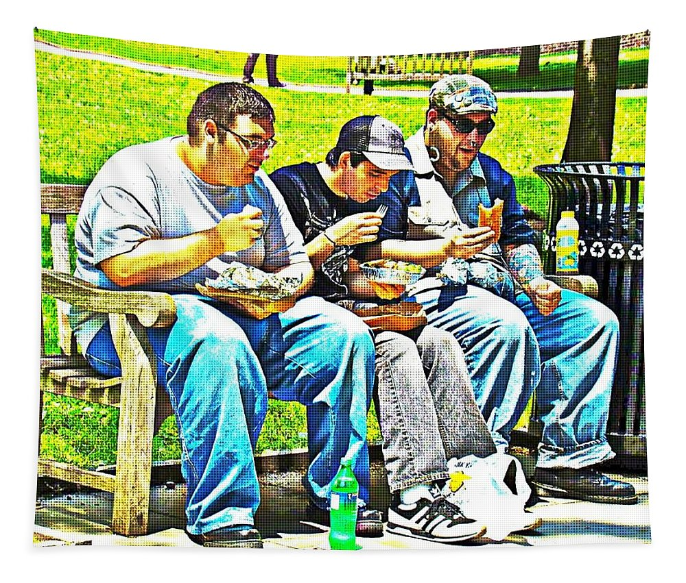 Men Eating Funny Sandwiches Lunch Park Bench Tapestry featuring the photograph Lunchtime by Alice Gipson