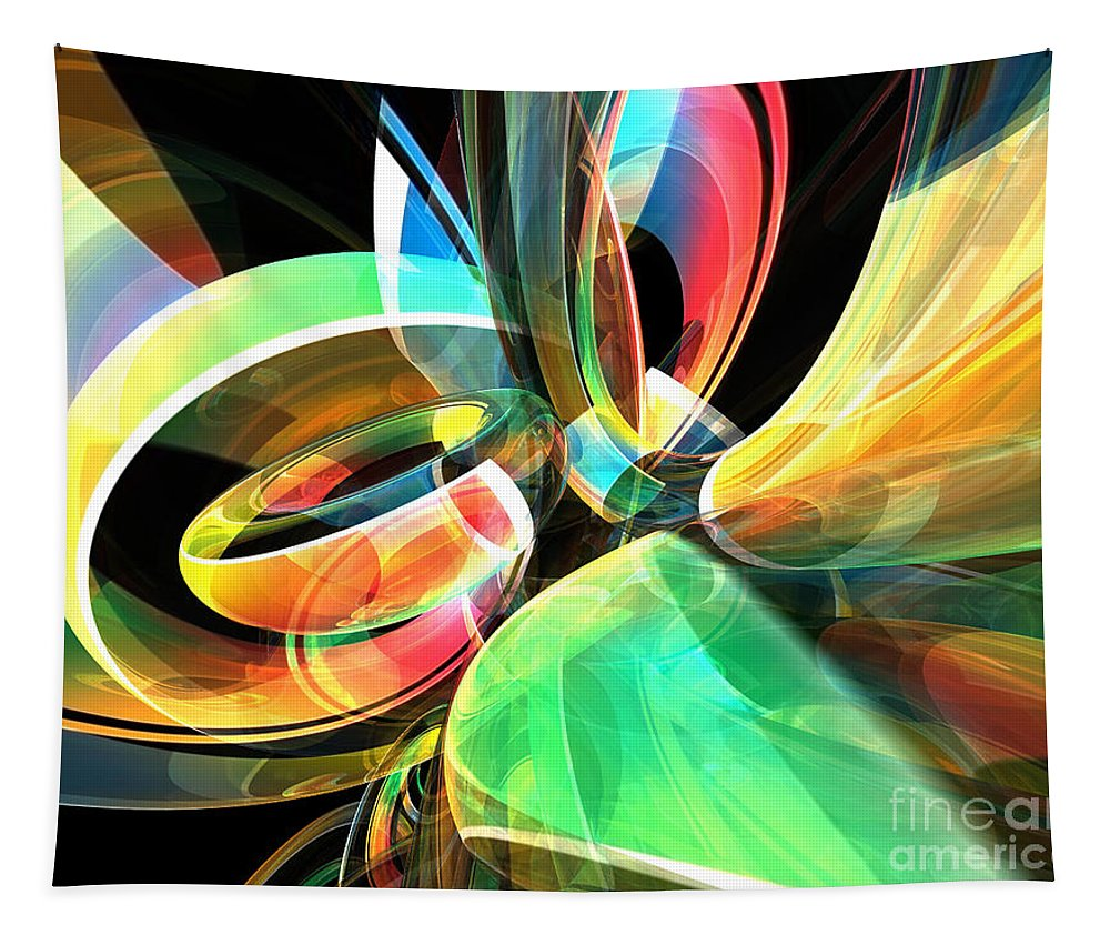 Abstract Tapestry featuring the digital art Magic Rings by Phil Perkins