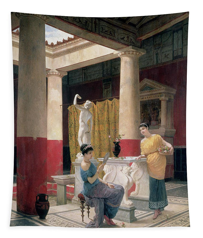 Female; Vanity; Mirror; Admiring; Statue; Greek Vase; Amphora; Column; Frieze; Flowers; Atrium; Roman; House; Home Tapestry featuring the painting Maidens In A Classical Interior by Luigi Bazzani