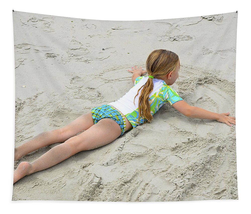 Sand Tapestry featuring the photograph Making A Sand Angel by Maureen E Ritter