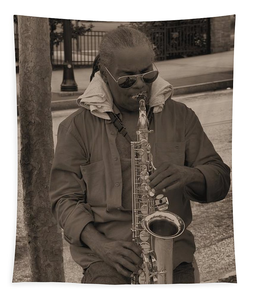 Man Tapestry featuring the photograph Man Playing His Saxophone by Donna Brown