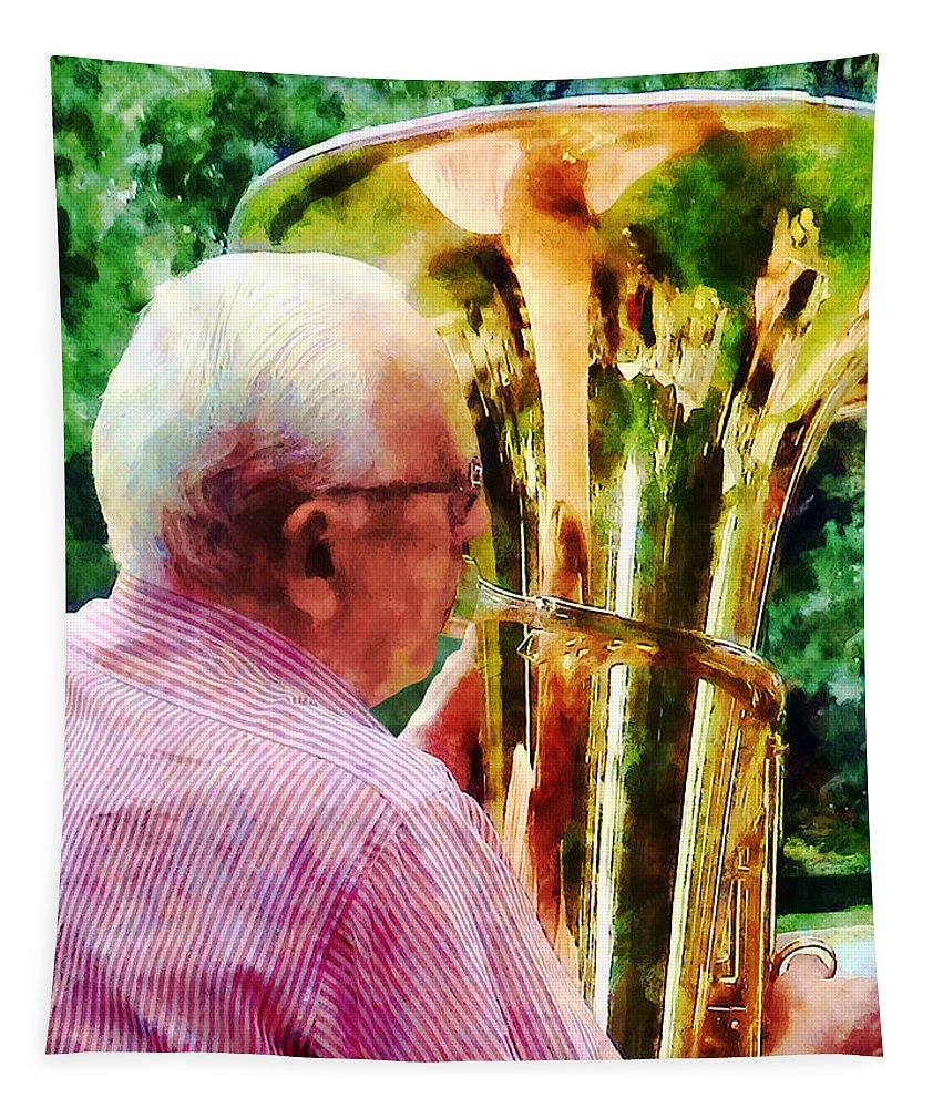 Tuba Tapestry featuring the photograph Man Playing Tuba by Susan Savad