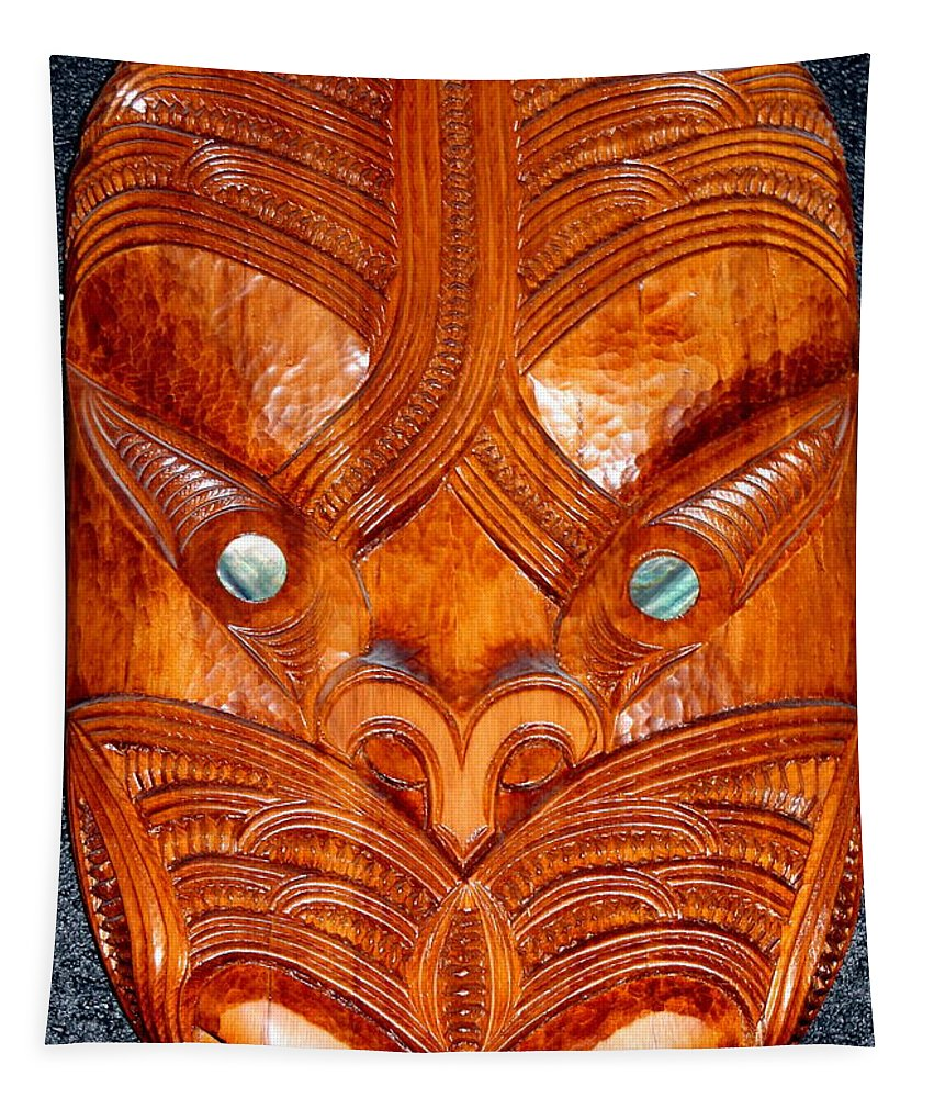 Carved Wood Tapestry featuring the photograph Maori Mask One by Laurel Talabere