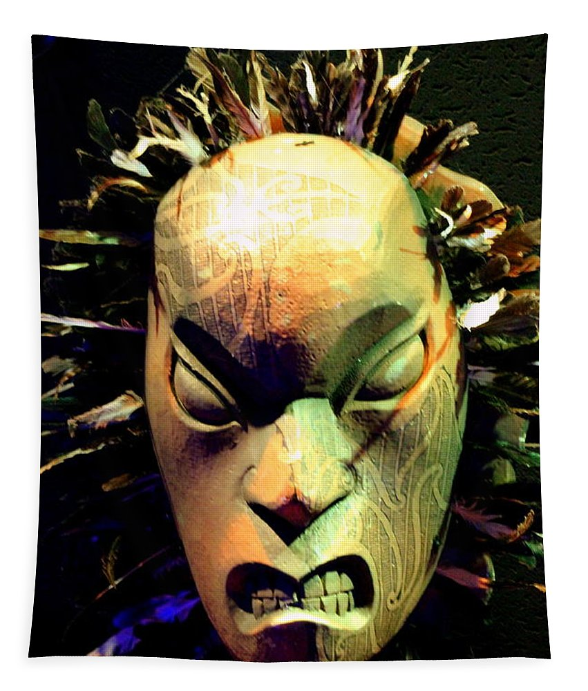 Maori Tapestry featuring the photograph Maori Mask Two by Laurel Talabere