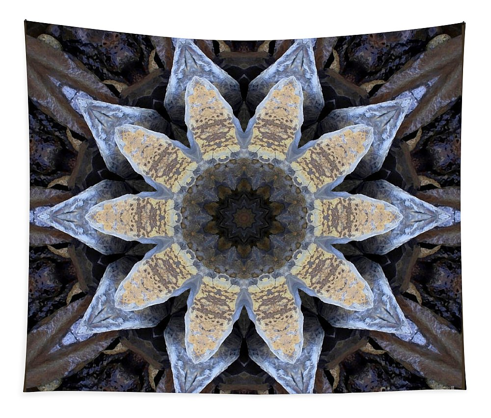 Abstract Tapestry featuring the photograph Marbled Mandala - Abstract Art by Carol Groenen