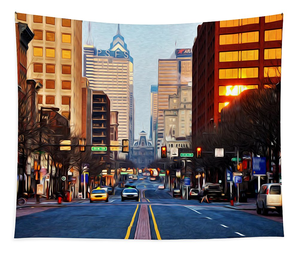 Market Street In The Morning Tapestry featuring the photograph Market Street In The Morning by Bill Cannon