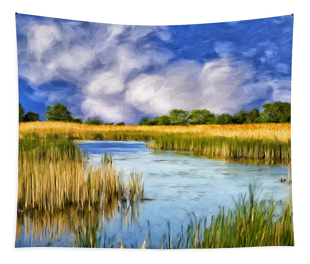 Marsh Tapestry featuring the painting Marshlands On Isle Of Palms by Dominic Piperata