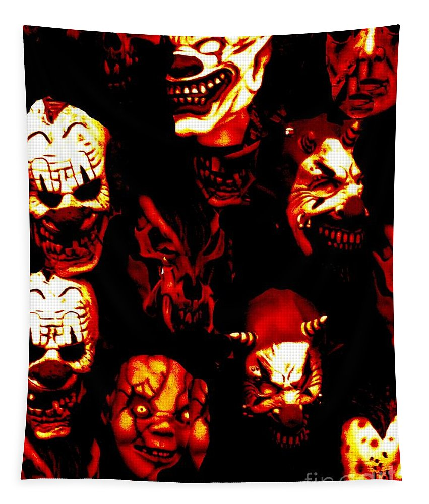 Mask Tapestry featuring the photograph Masks Of Fear by Charleen Treasures