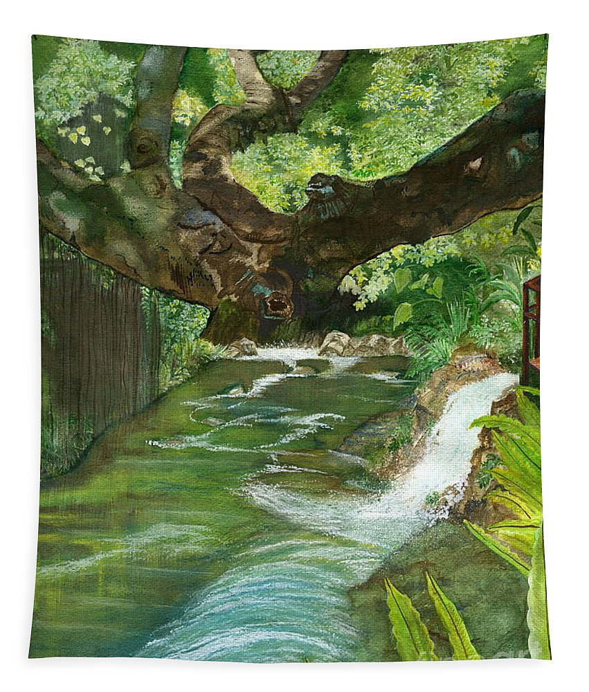 Ubud Fine Art Tapestry featuring the painting Maya Ubud Tree Bali Indonesia by Melly Terpening
