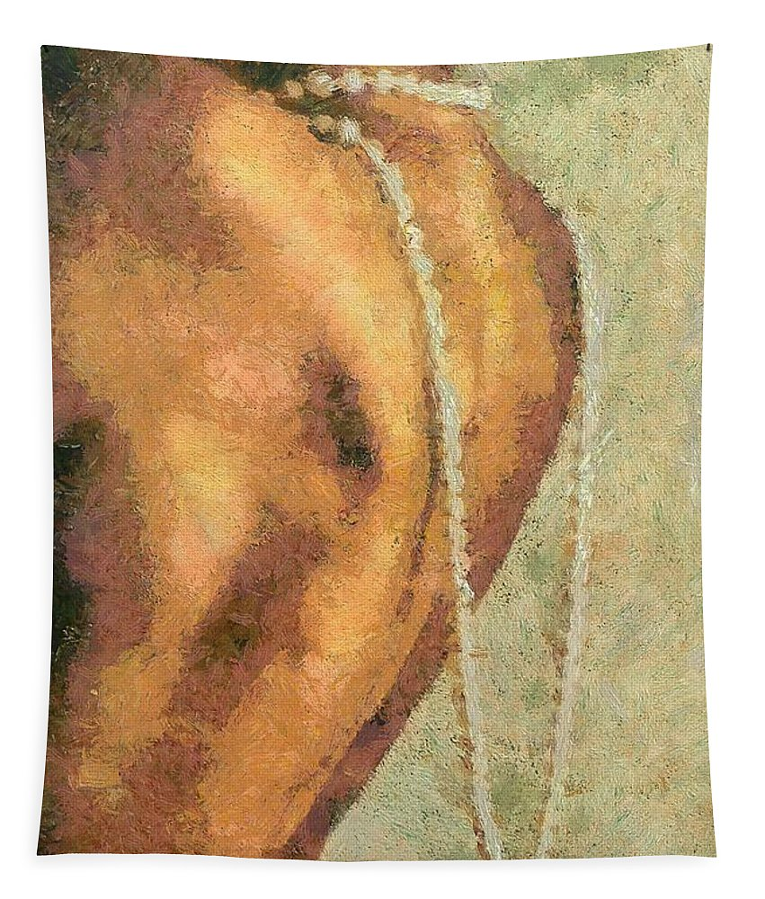 Female Tapestry featuring the mixed media Maya With Pearls by Dragica Micki Fortuna