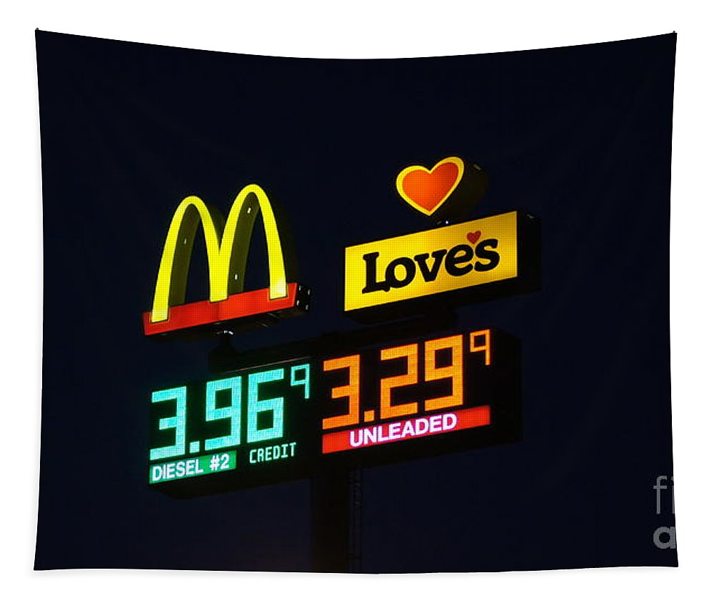 Mcdonalds Tapestry featuring the photograph Mcdonalds Loves Gas by Paul Wilford