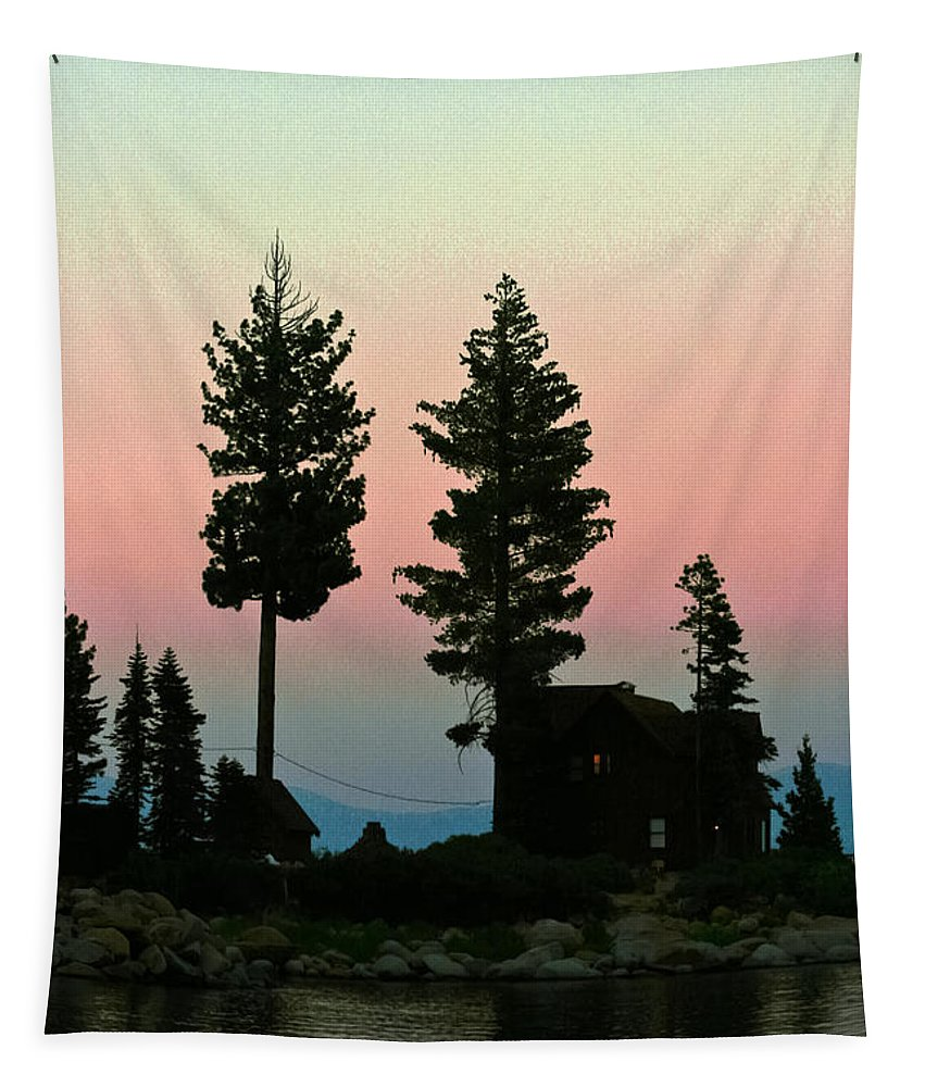 Meeks Bay Tapestry featuring the photograph Meeks Bay Sunset. by Mitch Shindelbower