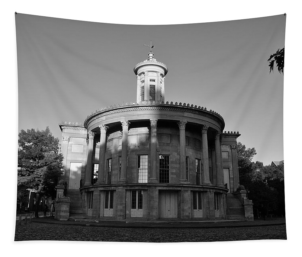 Merchant Exchange Building - Philadelphia In Black And White Tapestry featuring the photograph Merchant Exchange Building - Philadelphia In Black And White by Bill Cannon