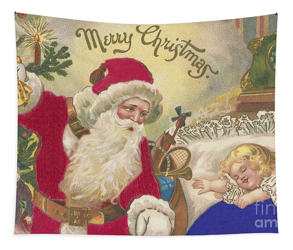 Christmas Card Tapestry featuring the painting Merry Christmas by American School