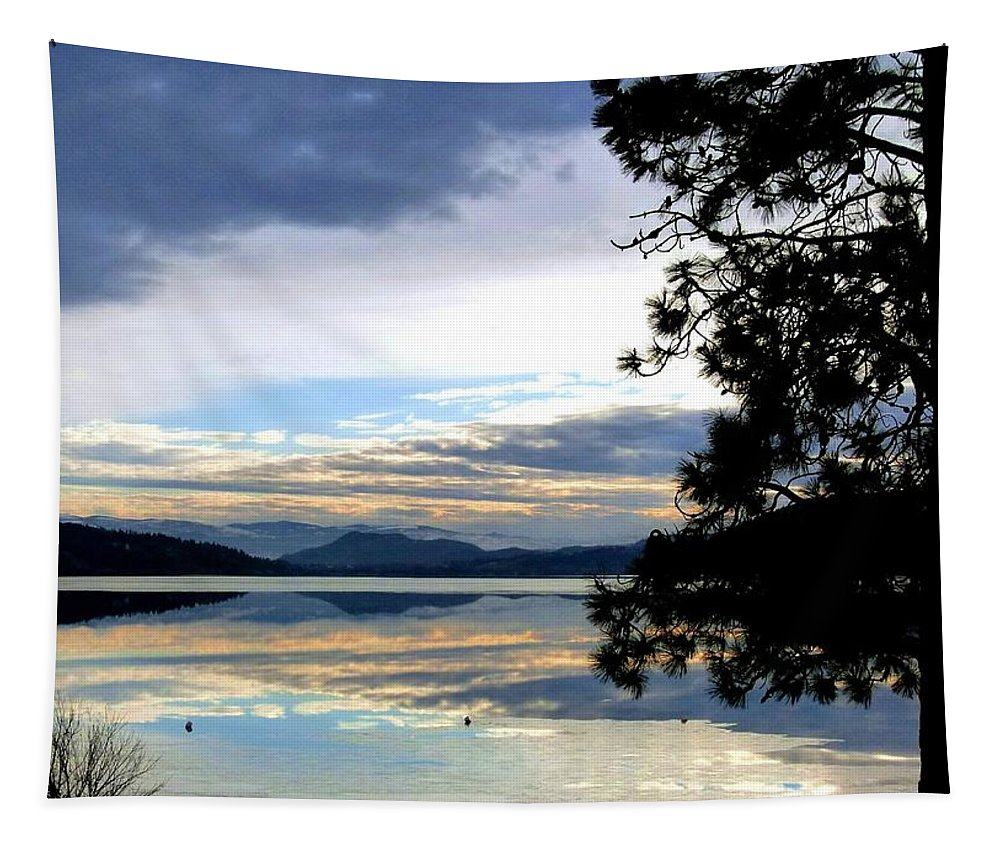 Wood Lake Tapestry featuring the photograph Mirror Image Sunset by Will Borden