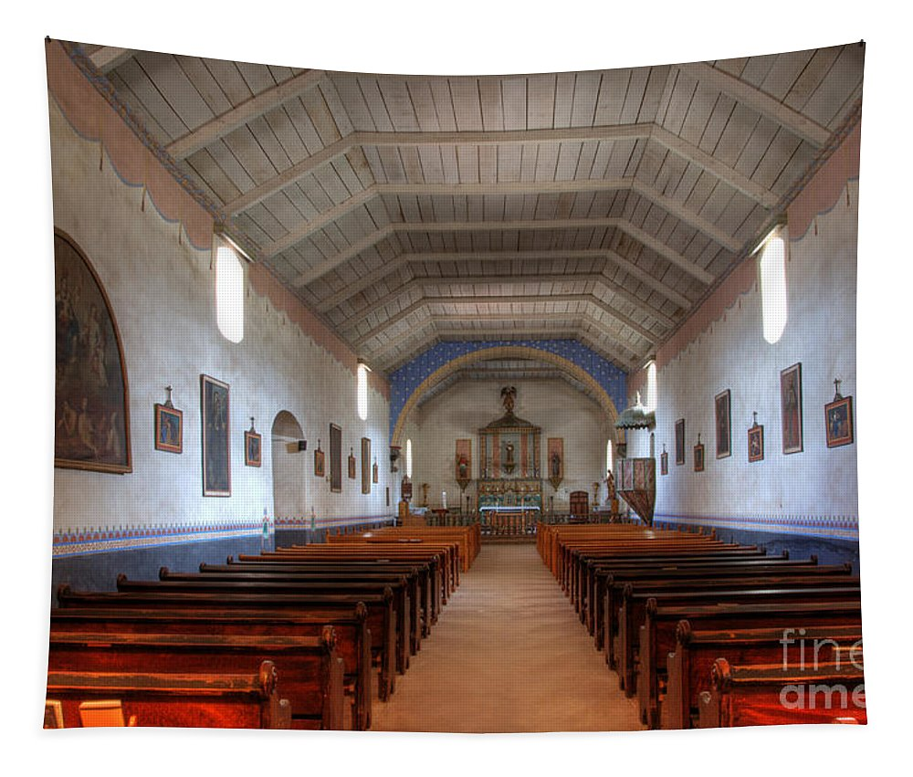 Mission Santa Ines Tapestry featuring the photograph Mission Santa Ines 3 by Bob Christopher