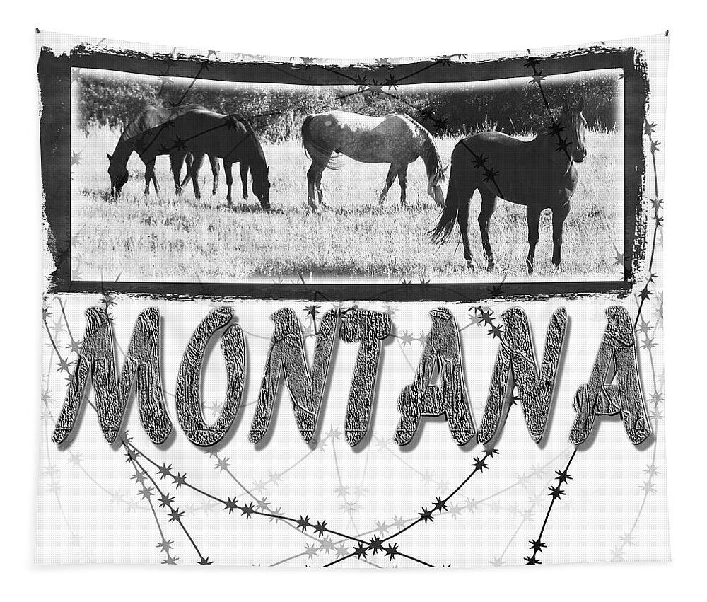 Montana Art Tapestry featuring the digital art Montana Horse Design by Susan Kinney