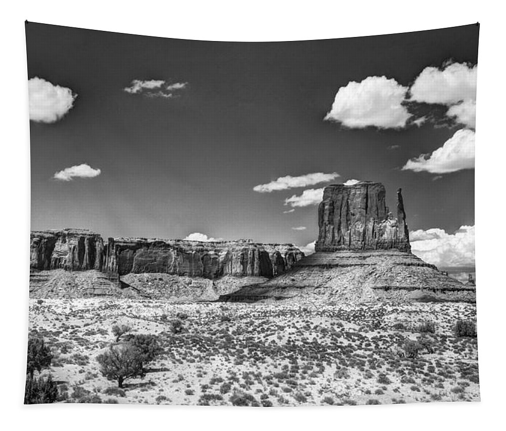 Monument Valley Tapestry featuring the photograph Monument Valley In Monochrome by Saija Lehtonen