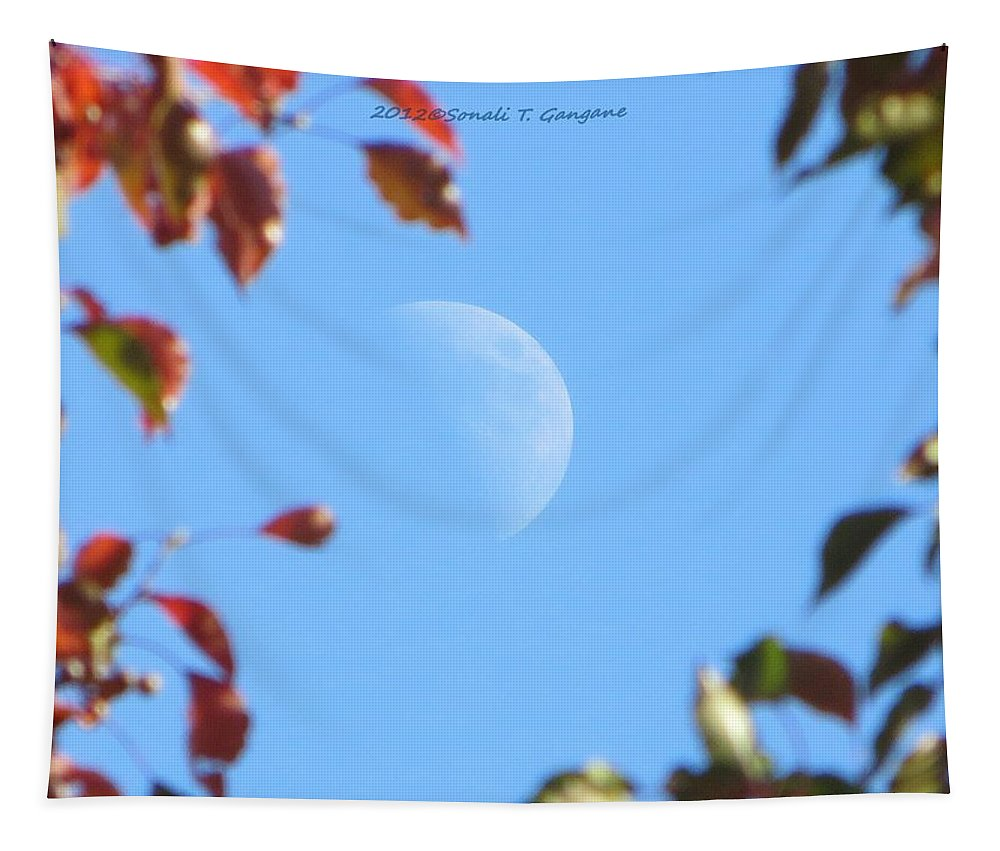 Leafy Moon Tapestry featuring the photograph Moon Amidst Red Leaves by Sonali Gangane